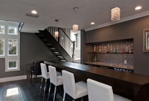 Contemporary Bar with Convenience concepts northfield wall console table, Crown molding, Bamboo floors, Built-in bookshelf