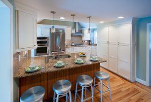 Craftsman Kitchen with Pendant light, Mini pendant no. 882 by quorum international, Kitchen peninsula, Subway Tile, Flush