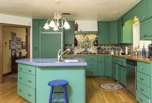 Eclectic Kitchen with Decorative Mexican Handcrafted Ceramic Tile by Size - 4x4 Tiles, Handpainted Tile Murals