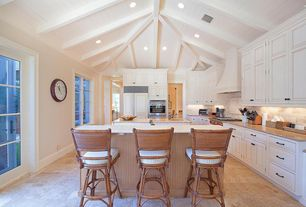 Traditional Kitchen with Simple granite counters, Wicker bar stool - tropical breeze, stone tile floors, High ceiling, Paint