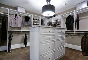 Contemporary Closet with Carpet, flush light