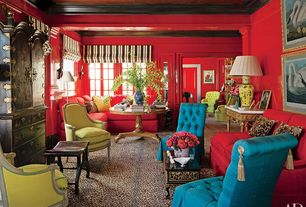 Eclectic Living Room with Louis XVI Bergeres Armchair, Crown molding, Paint, Carpet, Victorian style button tufted chair