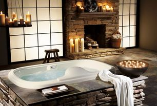 Rustic Hot Tub with exterior stone floors, Atlantis Whirlpool Tub, Teak shower stool, Jetted drop in bathtub, Shoji door