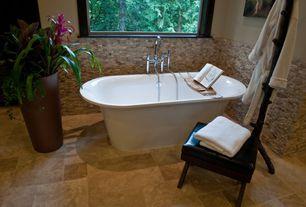 Tropical Master Bathroom with Freestanding, Arizona tile 3-d mesh scabos split stack, Standard height, Wall Tiles, Bathtub
