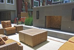 Modern Patio with Casement, Pathway, Gate, exterior stone floors, Deck Railing, Fence