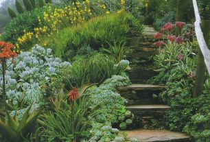Rustic Landscape/Yard with exterior stone floors, Reclaimed wood, Wood railing, Succulent plant, Pathway