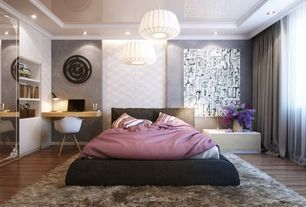 Contemporary Master Bedroom with Built-in bookshelf, flush light, Crown molding, Hardwood floors