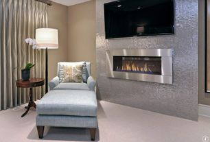 Contemporary Living Room with Megan Accent Table, Paint 1, metal fireplace, Upholstered ottoman, Standard height, can lights