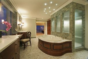 Traditional Master Bathroom with specialty door, Complex marble counters, Crown molding, Undermount sink, European Cabinets