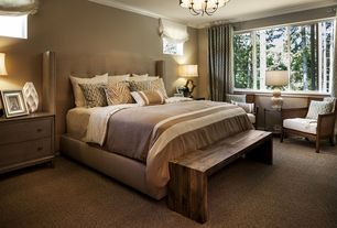 Contemporary Master Bedroom with Crown molding, Chandelier, Carpet