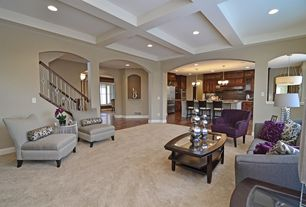 Contemporary Living Room with Standard height, Columns, Carpet, Box ceiling, can lights
