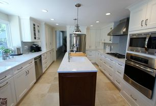 Contemporary Kitchen with Undermount sink, Daltile-Travertine Durango 16 in. x 16 in. Natural Stone Floor and Wall Tile