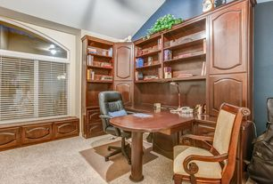 Craftsman Home Office with Carpet, Arched window, Built-in bookshelf, High ceiling, Window seat