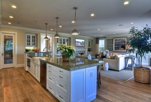 Traditional Great Room with Crown molding, French doors, Ren-Wil Norwich 1 Light Mini Pendant, stone fireplace, Pendant light
