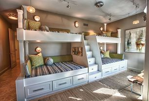 Contemporary room with Custom built-in bunk beds and storage, Paint, Track lighting