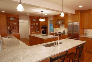 Modern Kitchen with Flat panel cabinets, Undermount sink, Simple granite counters, flush light, Built-in bookshelf, U-shaped