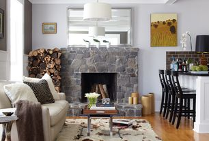 Contemporary Living Room with Paint, Fireplace, Possini white & brushed nickel contemporary pendant light, Hardwood floors