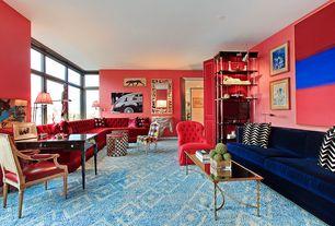 Contemporary Living Room with Carpet, six panel door, Built-in bookshelf, Standard height, picture window, can lights