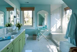 Traditional Master Bathroom with Ms international - greecian white 12 in. x 12 in. honed marble floor and wall tile, Paint 1