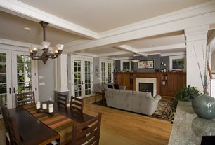 Craftsman Great Room with Fireplace, can lights, Paint, Exposed beam, Standard height, Chandelier, Columns, Paint 2, Casement