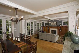 Craftsman Great Room with Columns, flush light, Built-in bookshelf, Millstead  random length solid real hardwood flooring