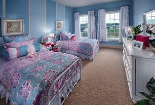 Cottage Kids Bedroom with Carpet, interior wallpaper