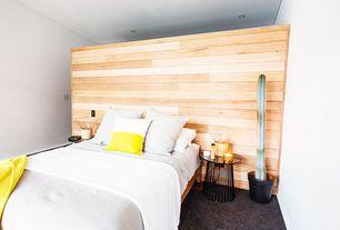 Master Bedroom with Throw pillow - yellow half, Carpet, Elmwood reclaimed prairie harvest wood paneling