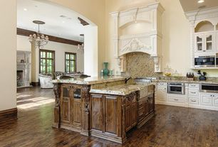 Traditional Kitchen with Custom hood, Farmhouse sink, Shades of Light Lorraine Twisted Bronze Chandelier - Large, One-wall