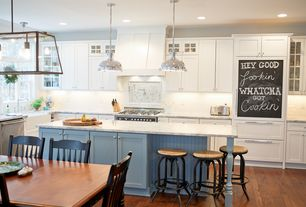 Country Kitchen with Restoration Hardware Harmon Pendant Light, Kitchen island, Glass panel, Stone Tile, Flush, Breakfast bar