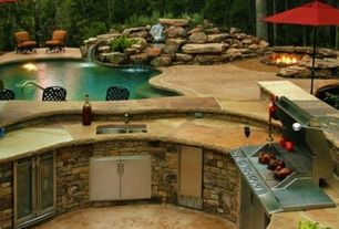Rustic Patio with Eldorado stone rough cut autumn leaf, Raised beds, Fountain, exterior stone floors, outdoor pizza oven