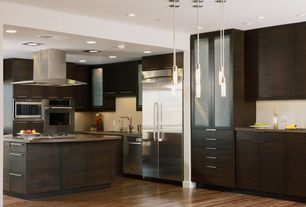 Contemporary Kitchen with Kitchen island, Soapstone counters, Glass panel, Pendant light, L-shaped, Flush, European Cabinets