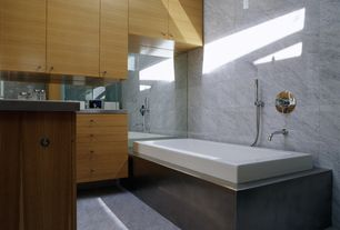 Contemporary Full Bathroom with Pendant light, Durasupreme cabinets - metro style panel, Flush, Master bathroom