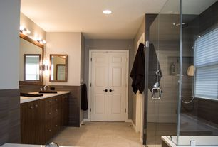 "Modern Master Bathroom with EGLO Palmera 2 Light Wall Sconce, American Olean Infusion Gray Wenge 12"" x 24"" Porcelain Tile"