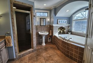 Traditional Master Bathroom with Flush, Indian Slate 4 in. x 4 in. x 8 mm Floor and Wall Tile, Simple Granite, Crown molding