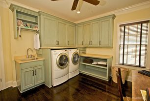 Cottage Laundry Room with Dupont corian cameo white, Hardwood floors, Crown molding, Quartz counters, Ceiling fan