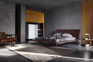 Contemporary Master Bedroom with Built-in bookshelf, High ceiling, Concrete floors