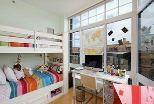 Contemporary Kids Bedroom with Bunk beds, Hardwood floors, Standard height, bedroom reading light, Built-in bookshelf