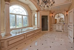 Traditional Master Bathroom with Crown molding, Columns, Undermount sink, large ceramic tile floors, Standard height, Shower