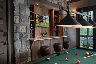Contemporary Game Room with Pendant light, Wall sconce, Built-in bookshelf