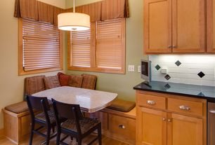 Traditional Kitchen with Window seat, Flat panel cabinets, Pendant light, Simple granite counters, Large Ceramic Tile