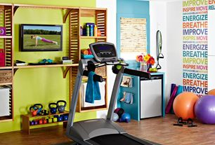 Eclectic Home Gym with Built-in bookshelf, Valeo medicine ball, Proform 505 cst treadmill (2014 model), Paint 1, Paint 2