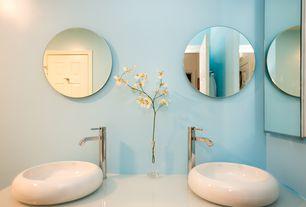 Contemporary 3/4 Bathroom with three quarter bath, Double sink, six panel door, Vessel sink, Standard height, Corian counters