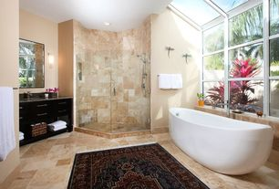 Contemporary Master Bathroom with Simple granite counters, Flush, Handheld showerhead, Undermount sink, Flat panel cabinets
