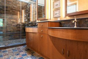Rustic 3/4 Bathroom with Wall sconce, Slate counters, Slate Tile, Glass shower door, Delaney single hole lavatory faucet