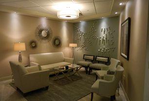 Art Deco Living Room with Paint 2, flush light, can lights, Standard height, Paint, Orbit trio floor lamp, Hardwood floors