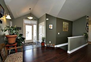 Traditional Entryway with Transom window, French doors, Pendant light, Wood floors, Hardwood floors