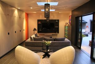 Modern Living Room with Hardwood floors, Skylight, Pendant light