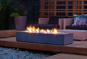 Contemporary Deck with Napoleon Linear PatioFlame Outdoor Gas Fire Pit, Fence, Fire pit