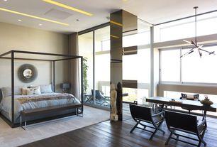 Modern Master Bedroom with Pendant light, Pottery barn chambray duvet cover, Hardwood floors, Maxalto Alcova Bedframe