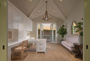 Contemporary Home Office with French doors, Exposed beam, Built-in bookshelf, Chandelier, Hardwood floors, High ceiling
